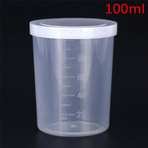 PLASTIC GRADUATED LABORATORY bottle test measuring 100ml container cups  with JK