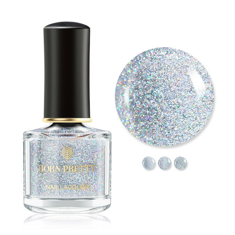 BORN PRETTY 6ml Sequined Holographic Top Coat Nail Polish Glitter Clear 6