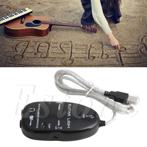 Black Guitar to USB Interface Link Cable Audio Adapter for PC/MAC Recording 2