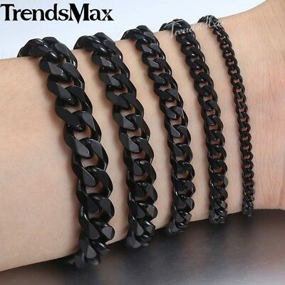 Curb Cuban Necklace Bracelet for Mens Chain 3/5/7/9/11mm Black Stainless Steel 5