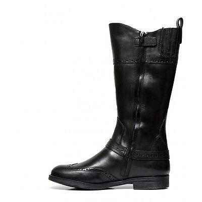 GEOX AGATA J6449B NERO scarpe bambina stivali stivaletti polacchine tacco pelle