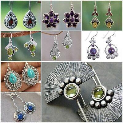 Silver Plated Vintage Turquoise Dangle Ear Hook Boho Hoop Women Jewelry Earrings 4