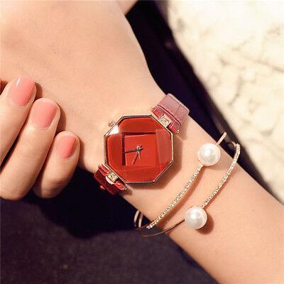 New Fashion Women 's Leather Band Analog Quartz Diamond Wrist Watch Watches 3