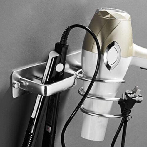QuiCi Support mural en aluminium pour s/èche-cheveux de salle de bain Noir