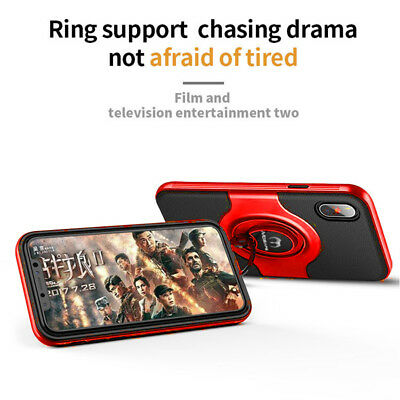For iPhone XS Max XR XS X Ring Magnetic Shockproof Hybrid TPU Bumper Case Cover 8