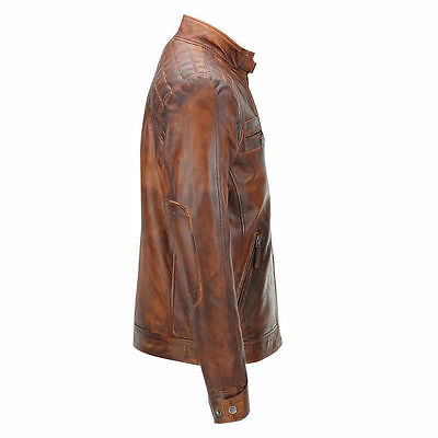 64e49a4e86f ... Mens Biker Vintage Motorcycle Classic Diamond Brown Distressed Leather  Jacket 2