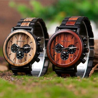 Luxury Design BOBO BIRD Japan Quartz Wrist Watch Men Women 44mm Gift Box Wood 7