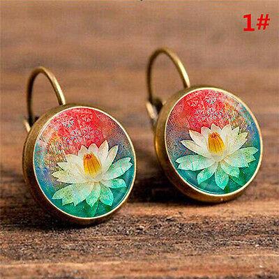 Elegant Round Stud Ear Vintage Women Girls Lady Crystal Flower Hoop Earrings 3