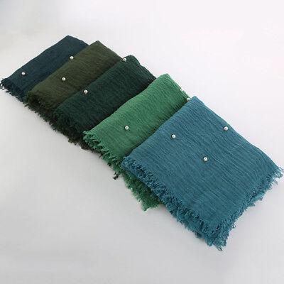 Frauen Baumwolle Hijab Schal Mit Pearl Muslim Damen Crinkle Winkle Hijabs Schals