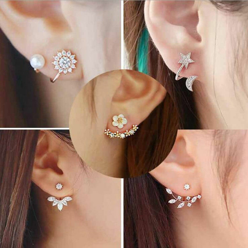 Women Double Sided Ear Jacket Piercing Water Drop Crystal