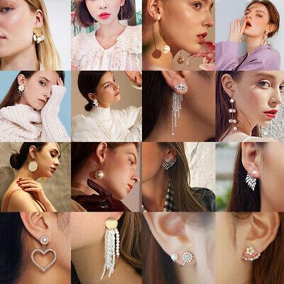 New Women Pearl Crystal Geometric Statement Drop Dangle Earrings Wedding Jewelry 7