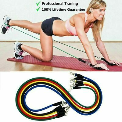 11PCs Resistance Bands Set Workout Bands with Metal Clips Handles Ankle Strap 9
