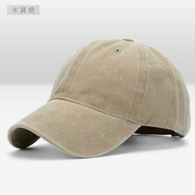 Men Plain Washed Cap Style Cotton Adjustable Baseball Cap Blank Solid Hat Casual 11