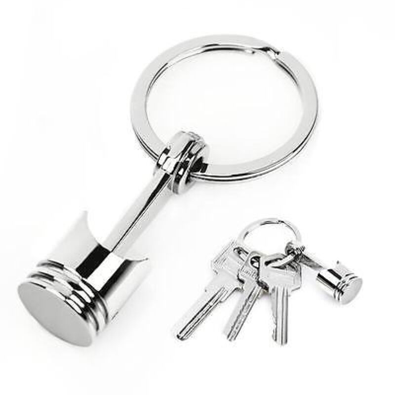 Metal Piston Car Keychain Keyfob Engine Fob Key Chain Ring keyring Silver New #W 7