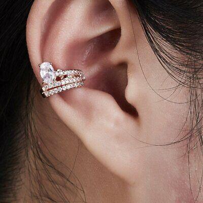 Unisex Punk Rock Ear Clip Cuff Wrap On Earrings Men Women Pearl Crystal Ear Stud 8