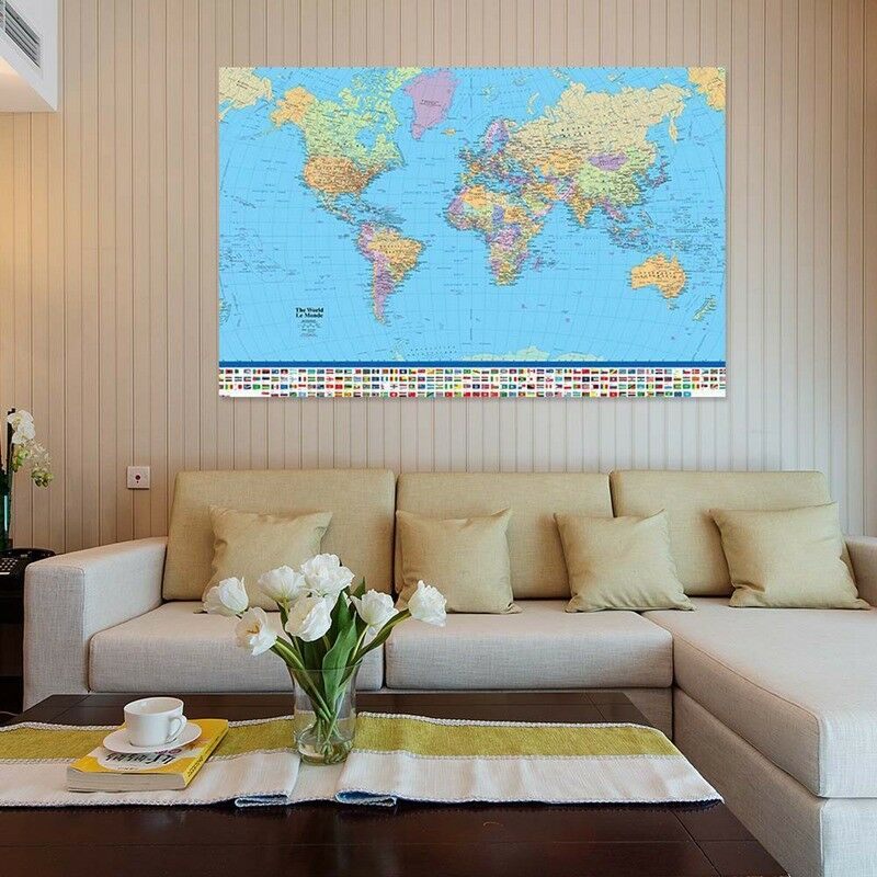 New Map Of The World Poster with Country Flags Wall Chart Home Date Version UK