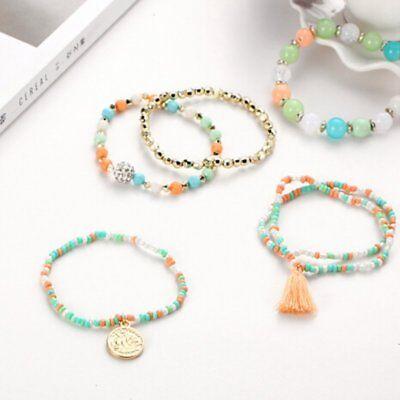 6Pcs/Set New Women Ethnic Boho Multilayer Tassel Beads Bracelet Bangle Jewelry 5