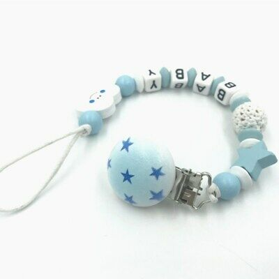 Personalised Name Wooden Baby dummy Clip Crochet beads Star pacifier clip 6