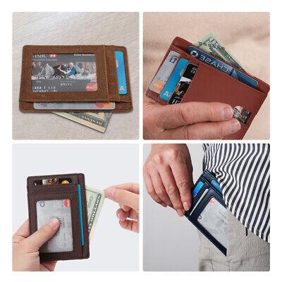 New Genuine Leather Slim Card Holder Wallets For Men - Minimalist RFID Blocking 6