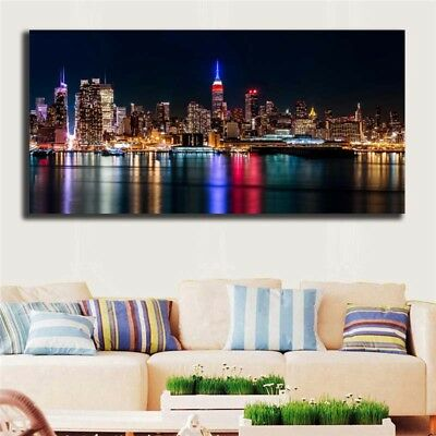 Oil Painting Modern Abstract On Canvas Unframed City Night View Huge Wall Decor 3