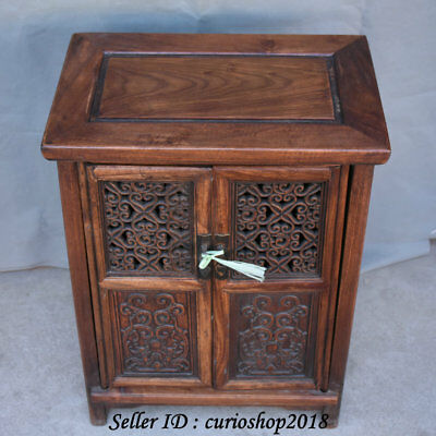 """23.2"""" Old China Huanghuali Wood Dynasty Palace Carving Dragon Cupboard Cabinet 6"""
