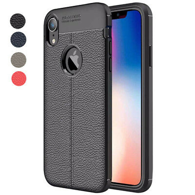 For iphone Xs Max Xr X 8 7 6S Silicone Rubber TPU Leather Slim Back Cover Case 3