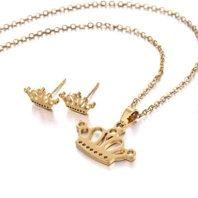 Fashion Gold Stainless Steel Jewelry Set Women Pendant Necklace Earrings Wedding 10