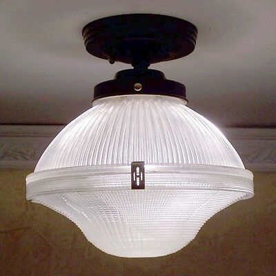 911 Vintage Halophane Ceiling Light Fixture Glass bath  kitchen  pendant 4