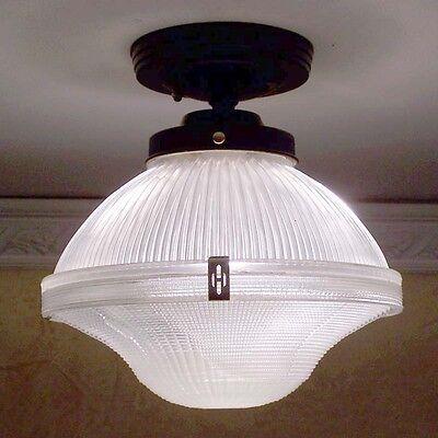 911 Vintage Halophane Ceiling Light Fixture Glass bath  kitchen  pendant 4