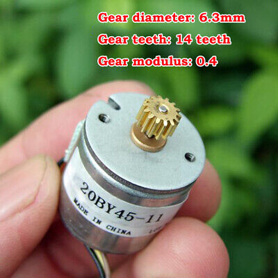 20BY45 Micro 20mm 2-phase 4-wire Precision Stepper Motor 18 Deg 14T Copper Gear 2