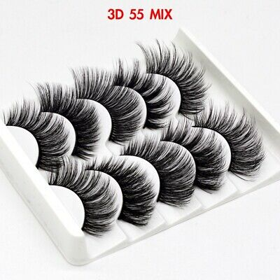 UK 5 Pairs 3D Fake Eyelashes Long Thick Natural False Eye Lashes Set Mink Makeup 9