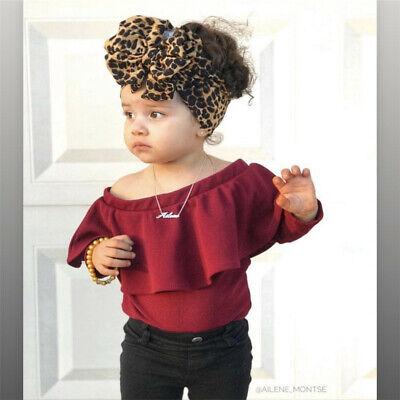 Newborn Baby Girls Leopard Bow Headband Infant Elastic Knot Hair Band Head Wrap 2