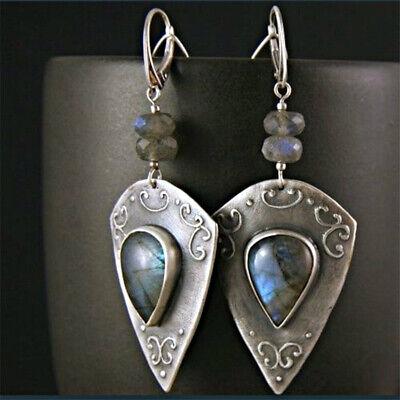 Silver Plated Vintage Turquoise Dangle Ear Hook Boho Hoop Women Jewelry Earrings 7