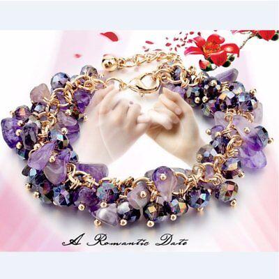 Natural Crystal Stone Chipped Raw Bracelet Women Quartz Bangle Lucky Jewelry New 6