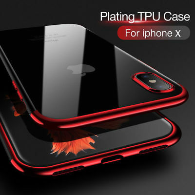 For iPhone X 8 7 6S Plus Case Electroplate Silicone Ultra Slim Clear Soft Cover 8