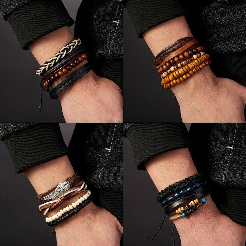 4Pcs Punk Multilayer Leather Bracelet Men's  Women Wristband Bangle Jewelry Set 3