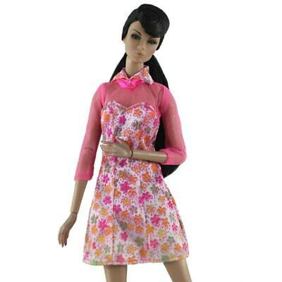"""Pink Floral Fashion Dress For 11.5"""" 1/6 Doll Clothes Outfits Short Gown Kids Toy 2"""