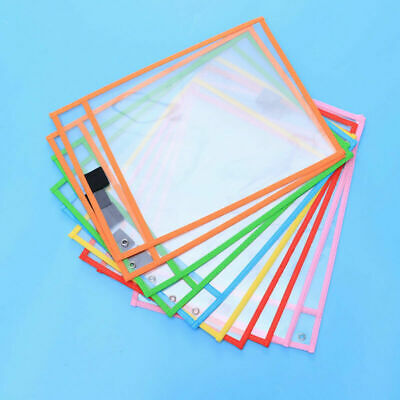 30pc Resuable Dry Erase Pocket Sleeves Students Kids Write and Wipe Tool Pockets 6