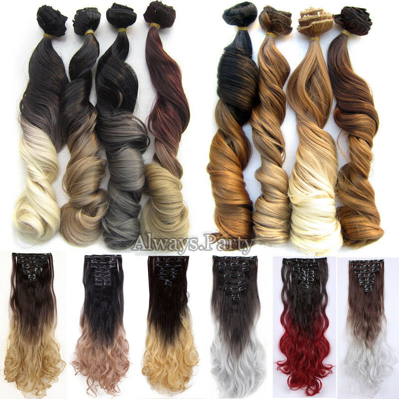 ON CLEARANCE Clip in 100% Real Natural as Human Hair Extensions 8 Pcs  Long Wavy 10