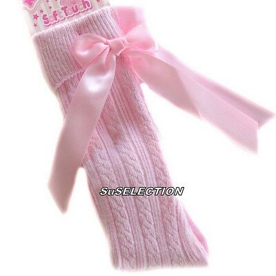 Girls & Toddler Bow Ribbon Socks 18 M'th-2/6 Years-White/Red/Navy/Beige/Pink-New 4