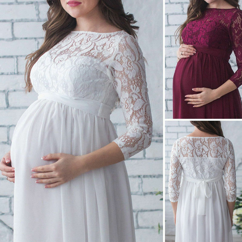 Maternity Women Lace Photography Long Pregnant Boho Maxi Gown Party Dress Props 5