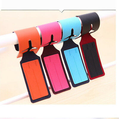 1X Leather Luggage Tags Labels Strap Name Address ID Suitcase Bag Baggage Travel