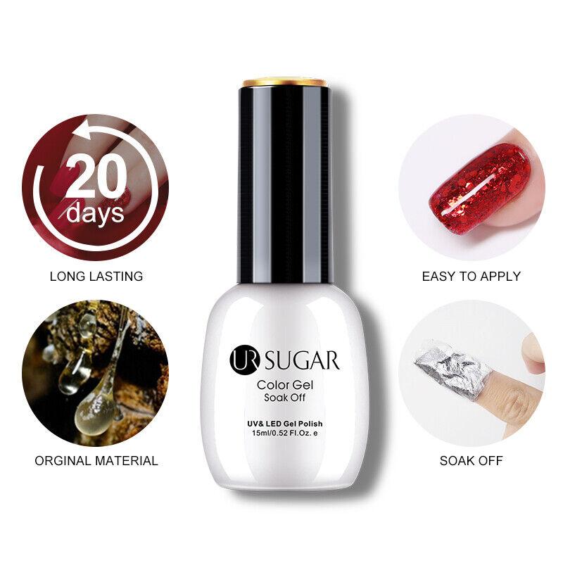 UR SUGAR 15ml Colorful Gel Polish Summer Glittery Soak Off UV Gel Varnish Decors 7