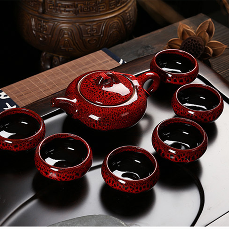 Kung Fu Tea Set Creative 7Pcs Ceramic Tea Sets Taiwan Crack 6 Tea Cups 1 Tea Pot 2