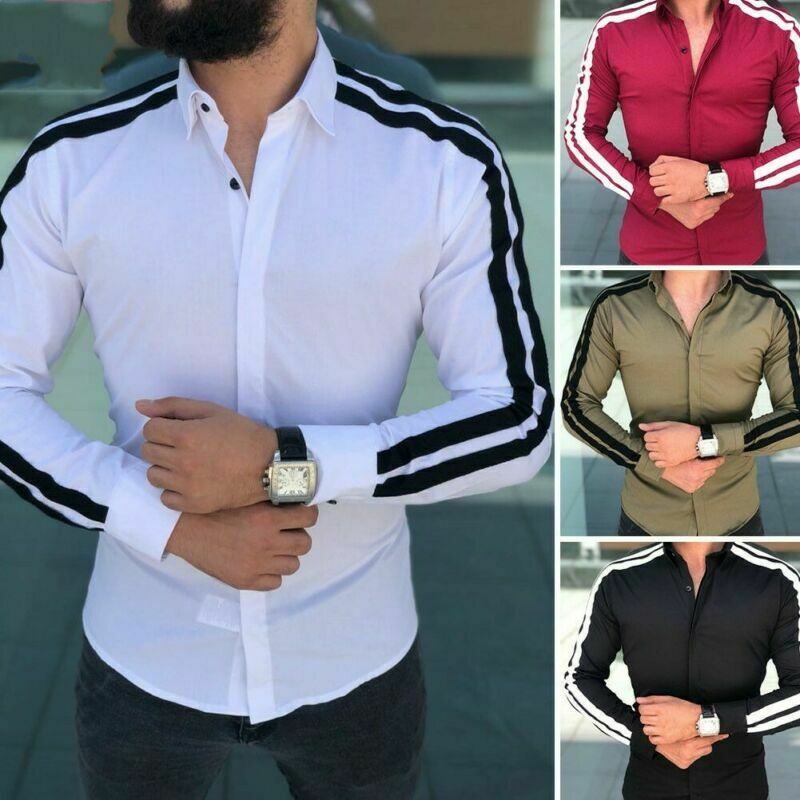 Mens Slim Fit Formal Dress Shirts Long Sleeve Stylish Muscle Tops Blouse T-shirt 8