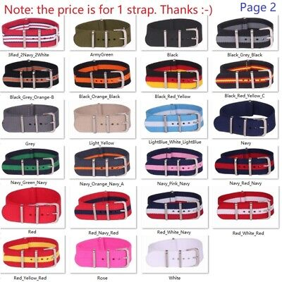 12 14mm 16mm 18mm 20mm 22mm 24mm Solid Stripe nato Wrist Nylon Watch Strap Band
