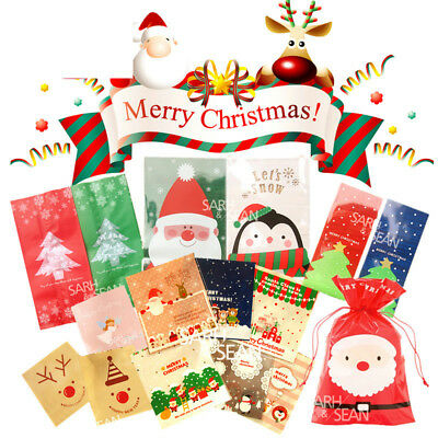 Christmas Cellophane Bags.100x Christmas Cellophane Bag Party Favour Cookie Sweet Candy Biscuit Gift Bags