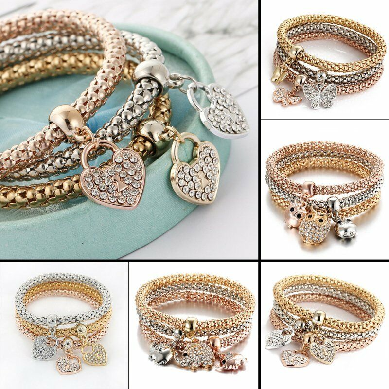 Women Girls 3Pcs/Set Gold Silver Rose Gold Bracelets Rhinestone Bangle Jewelry 2