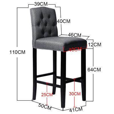 Fabric Linen Kitchen Pub Bar Stools Height Chair Wood Breakfast Stool Footrest