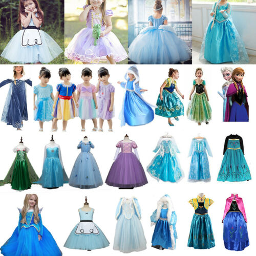 Princess Belle Cinderella Costume Party Gown Dress Frozen Girl Kid Child Dresses 3